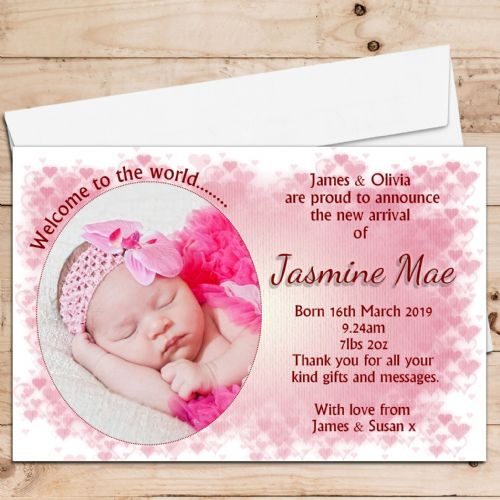 10 Personalised Baby Girl Birth Announcement Thank You Photo Cards N48